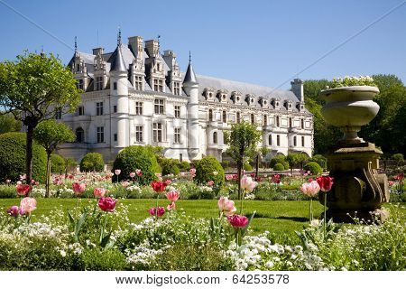 Chateau de Chenonceau from the gardens in Loire Valley, France