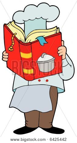 Chef reading cookery book