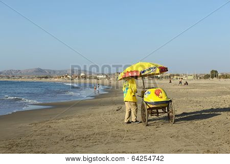 Mobile Ice Cream Vendor on Beach in Los Organos, Peru