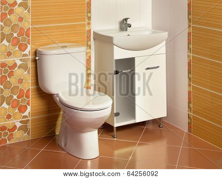 Detail Of A Luxurious Bathroom With Sink And Toilet