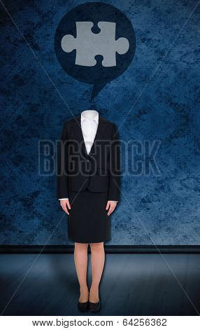Composite image of headless businesswoman with jigsaw in speech bubble against dark grimy room
