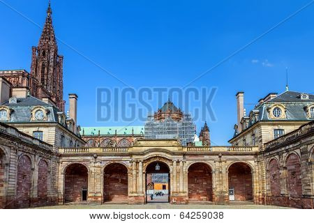 View of Strasbourg cathedral form Rohan Palace. France. Europe.