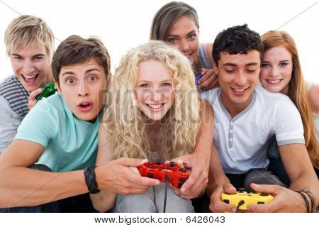 poster of Excited Teenagers Playing Video Games In The Living-room