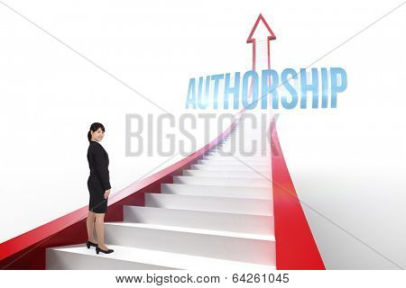 The word authorship and smiling businesswoman against red arrow with steps graphic