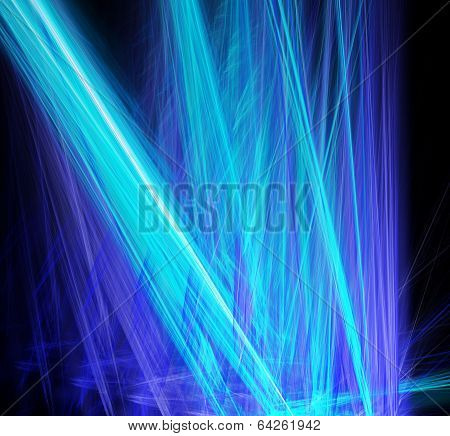 Abstract blue laser beams cut through the darkness. Fractal art graphics