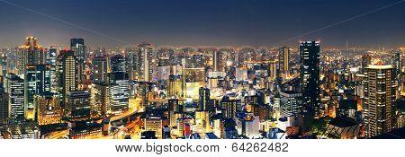 Panoramic Osaka at night, Japan