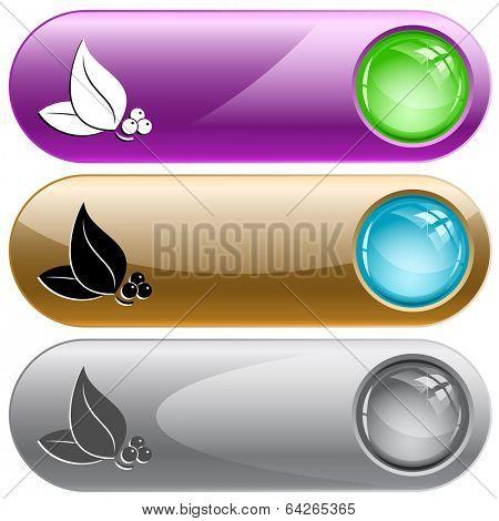 Leaf. Internet buttons. Raster illustration.
