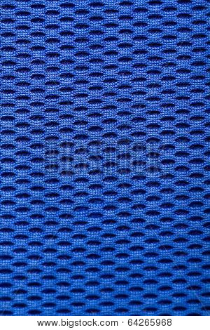 Synthetic Blue Cloth. Grid Closeup. Macro
