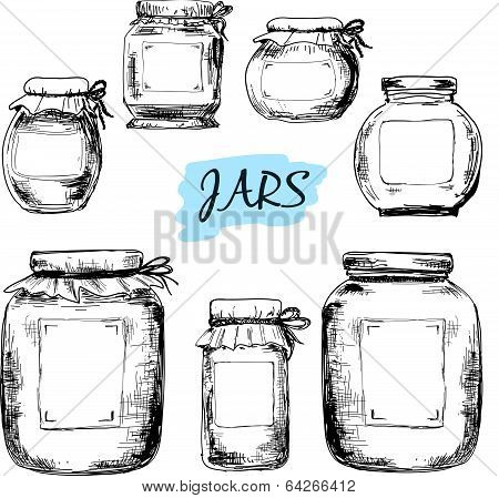 Jars with labels.