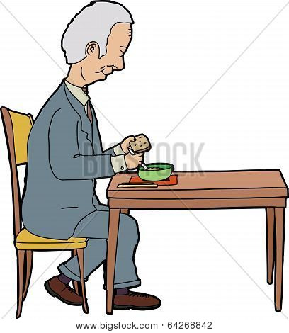 Man Eating At Table