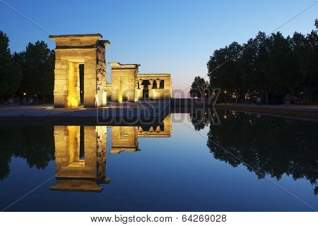 Debod Egyptian Temple, located in Madrid, Spain. This temple is 2200 years old, was donated to Spain by Egypt in 1968, in appreciation for Spanish aid to the salvation of the temples of Nubia.