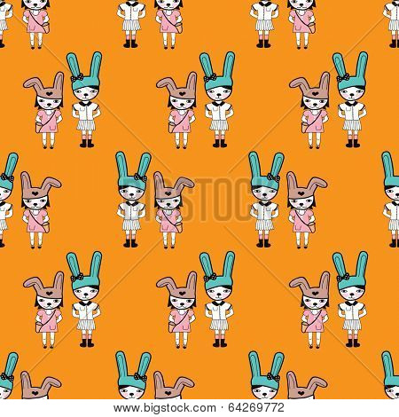 Seamless bunny hipster girls illustration background pattern in vector