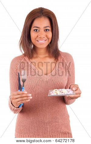 African Woman With Pills Medicine Tablets