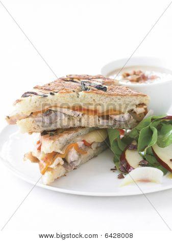 Tuscan Chicken Panini And Arugula-pear Salad