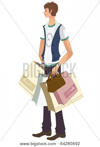 trendy man with shoppingbags