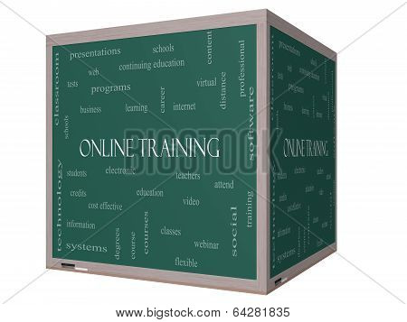 Online Training Word Cloud Concept On A 3D Cube Blackboard