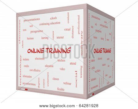 Online Training Word Cloud Concept On A 3D Cube Whiteboard