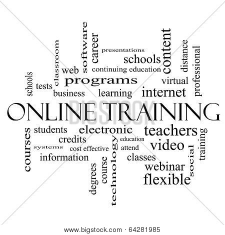 Online Training Word Cloud Concept In Black And White