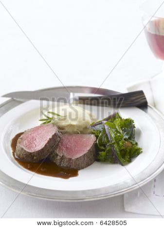 Roasted Rosemary Fillet Of Beef With Pinot Noir Sauce