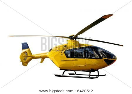 Yellow helicopter isolated
