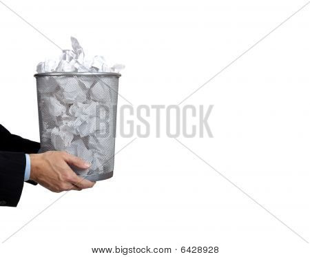 Business Man Holding Full Trash Can