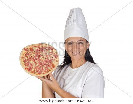 Pretty Cook Girl With A Delicious Pizza