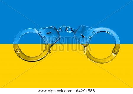 Ukrainian Flag And Handcuffs