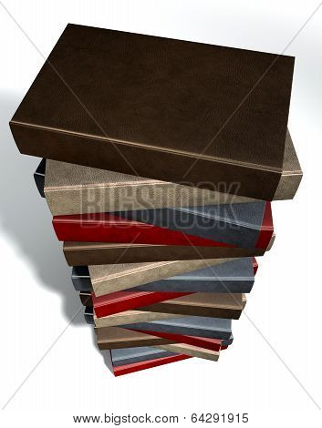 Stack Of Generic Leather Books