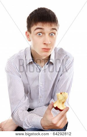 Surprised Teenager With An Apple
