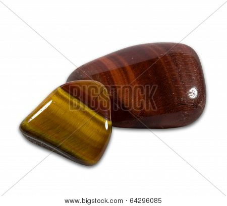 Tigers Eye Gemstones On  White Background