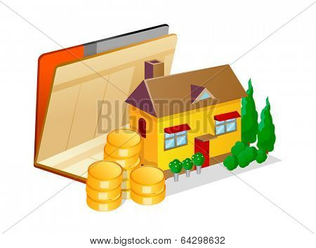 vector icon bankbook and house