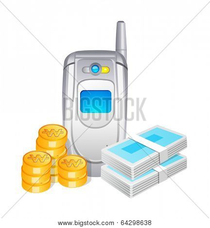 vector icon mobile phone and cash