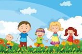 image of stroll  - Illustration of a family strolling in the garden - JPG
