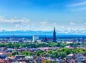 image of bavarian alps  - Aerial view of Munich with Bavarian Alps in background - JPG