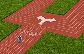 foto of track field  - Businessman crossroads concept choosing the right path as a man on a track and field sport track facing a difficult choice and dilemma with two different business directions as a metaphor for decision crisis - JPG