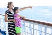 stock photo of cruise ship caribbean  - Family enjoying a cruise vacation together - JPG