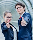 ������, ������: Expressive Portrait Of Junior Executives leaders Of Company Thumb Up