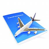 picture of reimbursement  - Travel Insurance concept with Jet aircraft on a white background - JPG