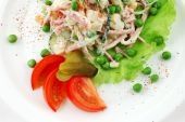 image of crudites  - Salad from fresh vegetables on a white dish close up - JPG