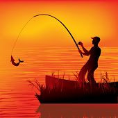 image of catching fish  - vector illustration of a fisherman catching fish - JPG