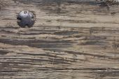 Old weathered plank with old bolt in it poster