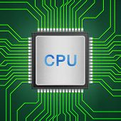 pic of cpu  - the isolated paper cut of cpu chip on green circuit is central processor technology in circuit computer on motherboard - JPG