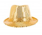 pic of vaudeville  - one festively shining gold hat full face on white background - JPG