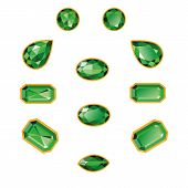 stock photo of octagon  - Emeralds set different cut  - JPG