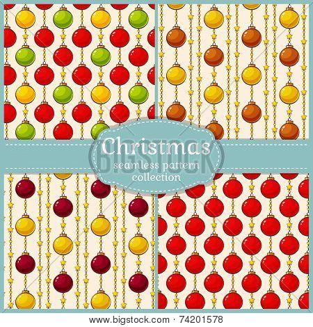 Patterns With Christmas Balls. Seamless Backgrounds. Vector Set.