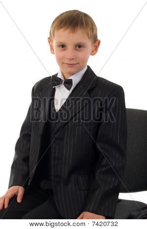 Serious Young Man. Studio Shoot Over White Background.