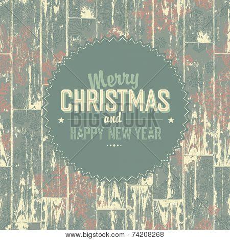 Merry Christmas retro card. Vector, EPS10