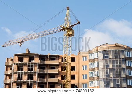 Construction Of The New Brick Building By Means Of The Elevating Crane