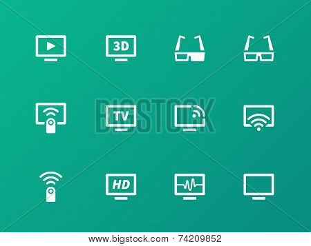 TV icons on green background. Vector illustration.