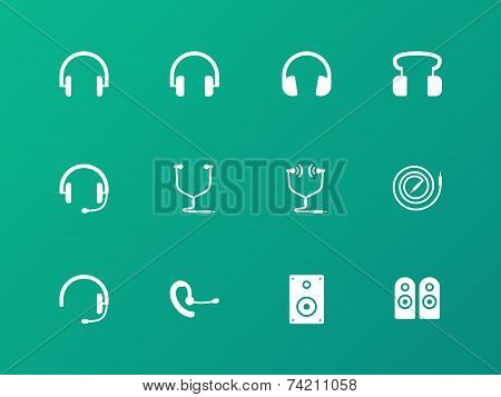 Headphones and headset icons on green background.